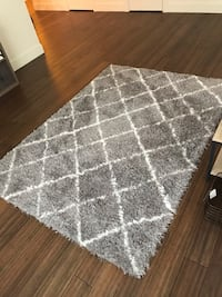 5X7 gray and white area rug
