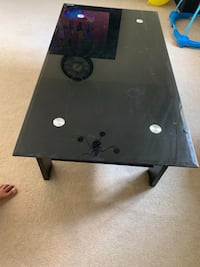 Metal black highlight glass top cocktail coffee table