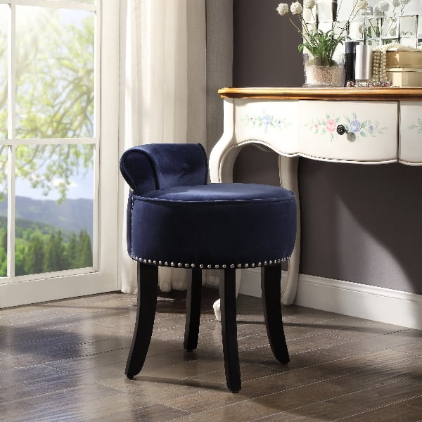 Inspired Home West Velvet Nailhead Rolled Back  Vanity Stool, NEW