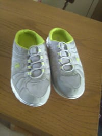 pair of gray-and-green running shoes