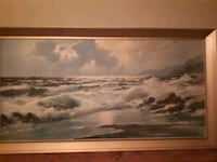 brown wooden framed painting of river
