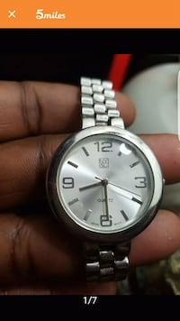 round silver analog watch with silver link bracelet Stone Mountain, 30088