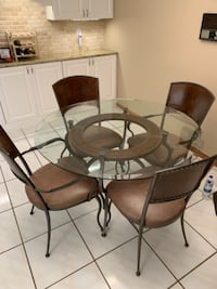 5 piece leather, metal and glass kitchen table chairs set TAMPA