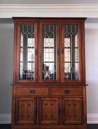 brown wooden framed glass china cabinet Toronto, M6B 4B5