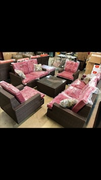 Liva Springs Grandeur 7-Piece Outdoor Patio Seating Set with Red Cushions and Extra Pillows ($1699) Dallas, 75243