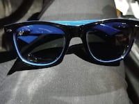black framed blue lens sunglasses