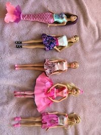 Five Barbie Dolls in Excellent Condition
