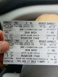 Dean Brody tickets with Alan Doyle Mississauga, L5E 1P8