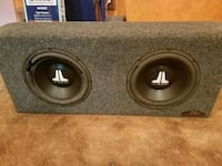 "Dual 10"" JL Audio subwoofers in powerwedge with 450w Kenwood amp"