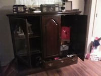 black and brown wooden TV hutch Tulsa, 74112