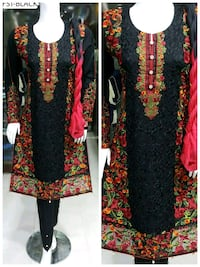 black and red floral long-sleeved dress