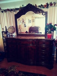 brown wooden sideboard with mirror Caldwell, 83605