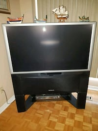 black and gray rear projection television