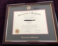 University of Maryland Diploma Frame  Brookeville, 20833