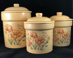 3 Ceramic Canisters (with lids), Vintage TREASURE CRAFT