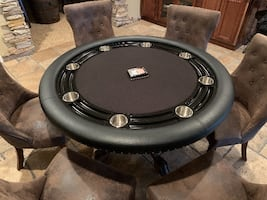 BBO Poker Table w/Faux Suede Upholstered French Chairs