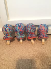 Hand painted bed frame knobs