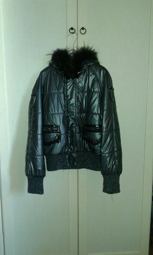 giacca parka in pelle nera