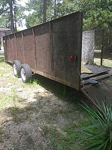 brown metal trailer