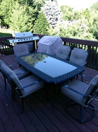 rectangular black metal patio set Stoughton, 53589