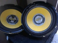 two black-and-yellow subwoofers Elk Grove, 95624