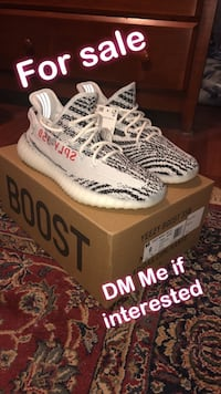 pair of Zebra Adidas Yeezy Boost 350 V2 with box Alexandria, 22312