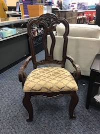 Single Dark Brown Side Chair w/ Upholstered Seat