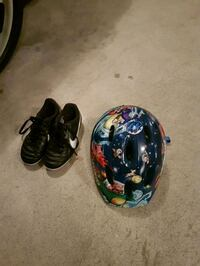 12C Nike soccer cleats & kids bike helmet Maple Ridge, V4R 0B7