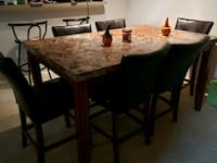 7 piece dark oak marble table Alexandria, 22314