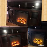 Chocolate fire place/tv stand