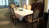 table 6 chairs with glass door china hutch buffet