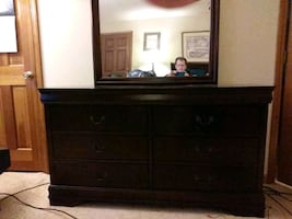 Dresser with mirror and six drawers