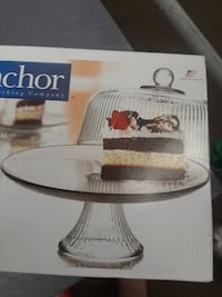 BRAND NEW BOXED: BIG*GLASS CAKE+ *GLASS FLUTED DOME COVER>CAKE SERVER