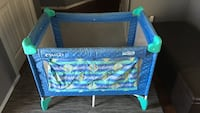 Like new! Blue and green travel cot Edmonton, T6M 0K3