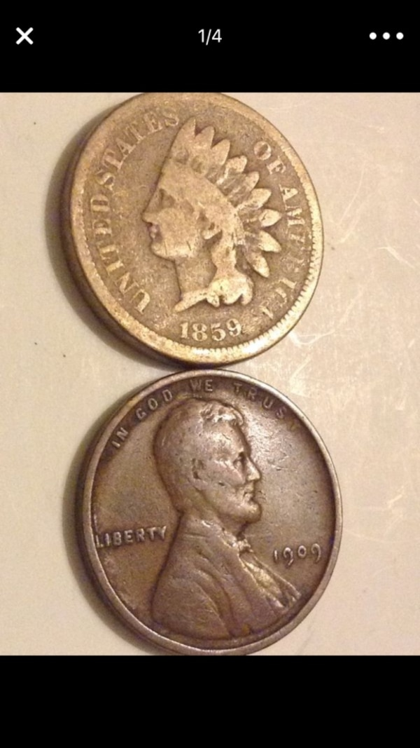 Two First Year Pennies 1909 Wheat Penny And 1859 Indian Head
