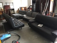 black leather sectional sofa and ottoman Toms River, 08755