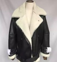 Shearling jacket real fur and leather moto biker