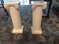 2 ivory colored pedestals. Table base or plant stand