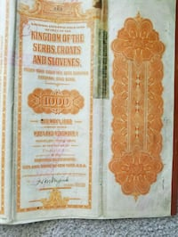 (2) Gold loan bonds 1922 Kingdom of the Serbs  Union