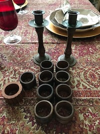 Pier One - Wood & Brass napkin and candlestick holders. Temecula, 92591