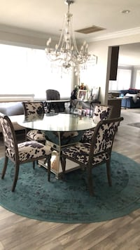 glass dining room table & 2 cow hide pier one chairs Brick, 08723