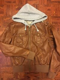 men's brown and white leather zip-up hoodie Vaughan, L4H 1H9