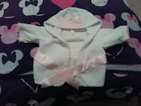 baby's white and pink hoodie jacket