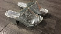 pair of gray perforated leather heeled sandals Montréal, H4M 1S7