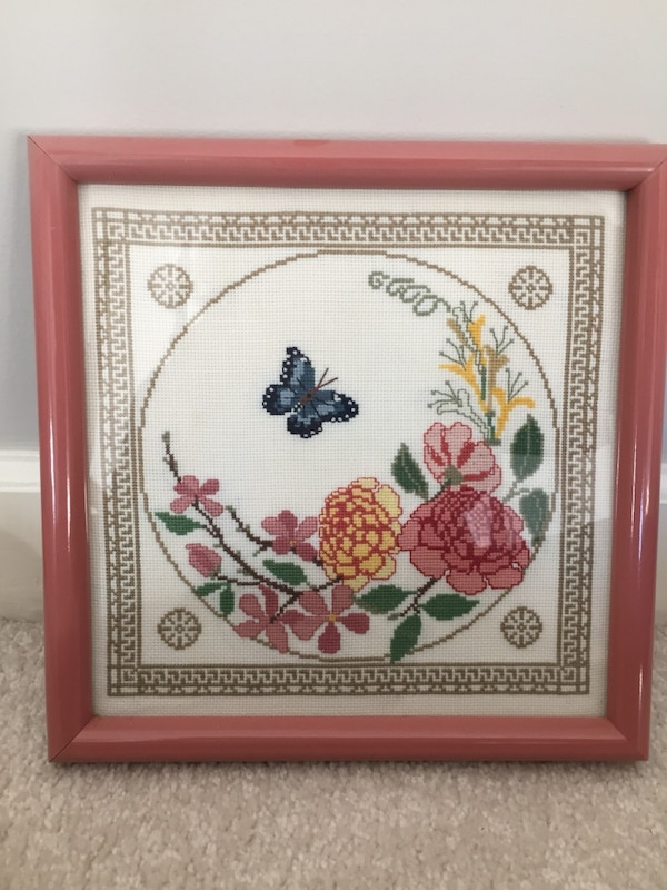 Butterfly/flower counted cross stitch framed picture 39d65156-a0e4-4de3-b753-3d52bd52db77