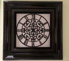 Brown plastic clock - framed wall decor