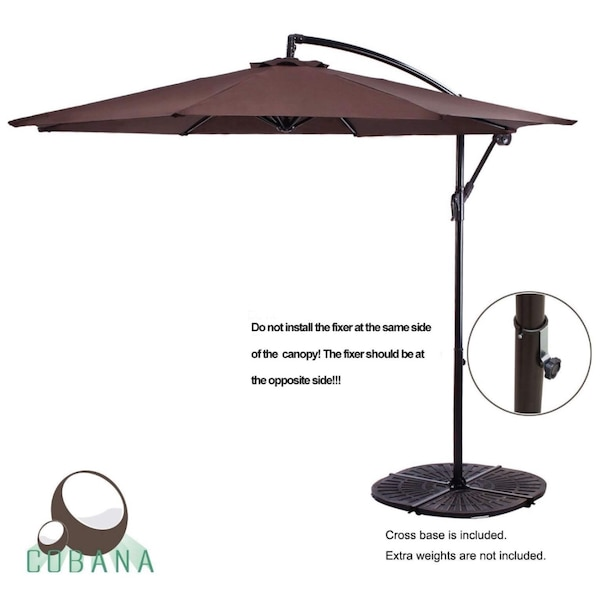Used Cobana 10 Cantilever Freestanding Patio Umbrella Hanging Outdoor With Crank And Base 250g Sqm Polyester Coffee For In Dallas