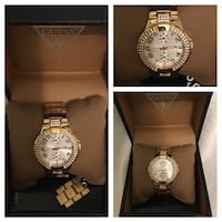 Gold stoned Guess link watch - excellent condition Toronto, M9V 2G4