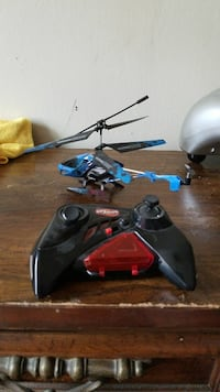 blue and black RC helicopter