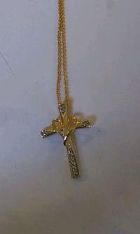 Gold heart cross necklace